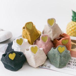 Image 3 - New Heart Socks Women Cotton Socks Japanese  Ankle Short Socks Embroidery Gold Heart 10 pairs lot