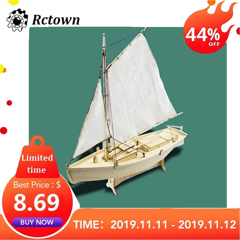 RCtown DIY 1:30 Assembling Building Kits Ship Model Wooden Sailboat Toys Harvey Sailing Model Assembled Wooden Kit