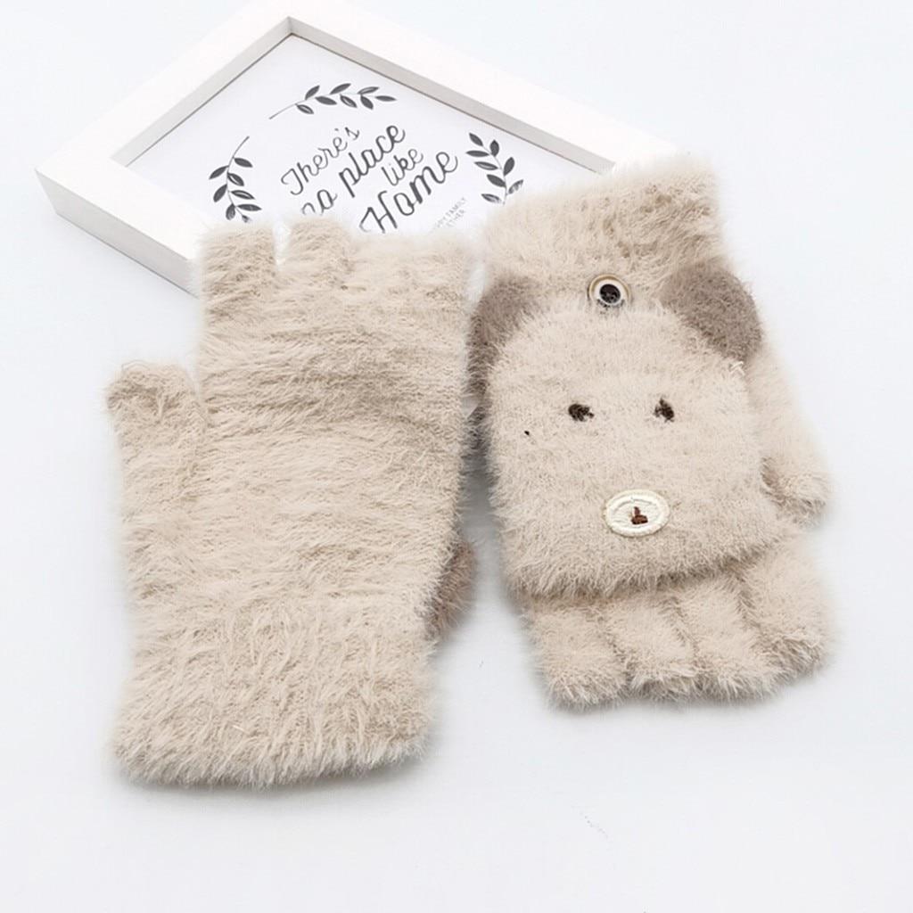 Детские зимние теплые вязаные варежки без пальцев, детские перчатки, детские перчатки для мальчиков и девочек с рисунком