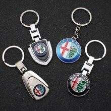 Estilo do carro 3d metal auto emblema chaveiro anéis para alfa romeo giulietta 147 156 159 giulia mito decoração acessórios