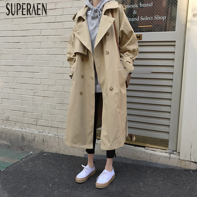 SuperAen 2019 Europe Fashion   Trench   Coat for Women New Autumn Cotton Casual Women Clothing Long Sleeves Windbreaker Female