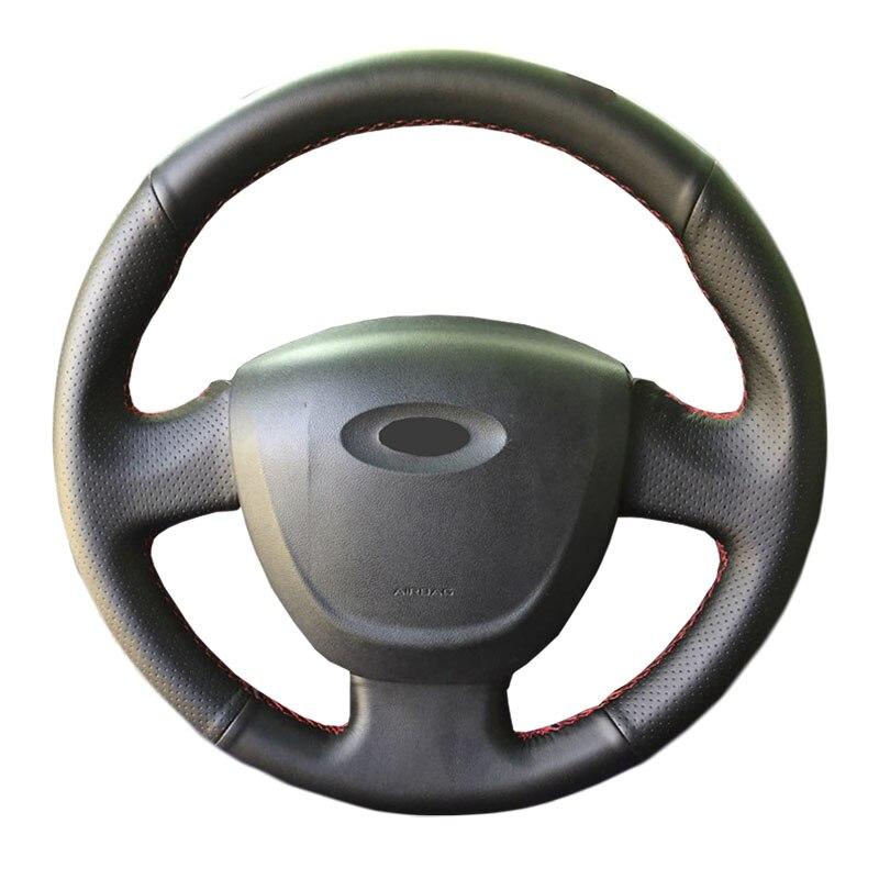 Genuine Leather car steering wheel Cover for Lada Granta 2011 2018/Steering Wheel Handlebar Braid Steering Covers     - title=