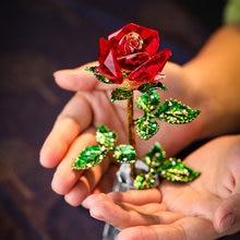 Requintado cristal vermelho rosa figurinhas artesanato dia dos namorados presentes de natal casamento decoração de mesa de casa ornamento de flores