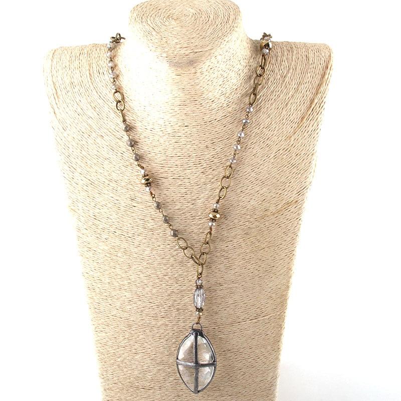 Модные богемные ювелирные изделия Античный камень цепочка со стразами кристалл кулон ожерелье s для женщин национальное ожерелье - Окраска металла: 2