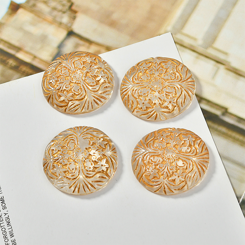 Retro Gold Embossed Flower Effect Transparent Resin Half Pill Patch Diy Earrings Ear Clip Hair Accessories Material Accessories