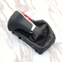 цена на Black  with Leather Boot Gaiter Gear Shift Knob Auto Trans ONLY For Audi A3 A4 A5 A6 PA STYLE C6 Q5 Q7 2009 2010 2011 2013