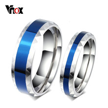 Vnox Rhombus Surface Wedding Rings for Women Men Stainless Steel Couple Jewelry Promise Band Alliance Bijoux(China)