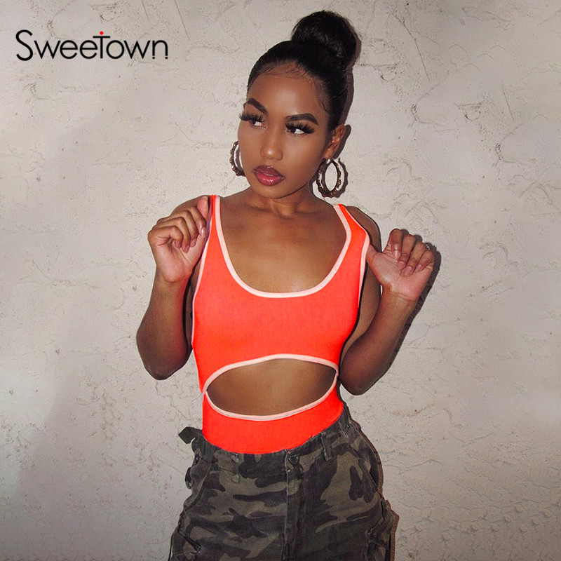 Sweetown 2020 Summer Cut Out Rave Sexy Bodysuit Women Casual Fitness Activewear Contrast Color Slim Vest Rompers Women Bodysuits