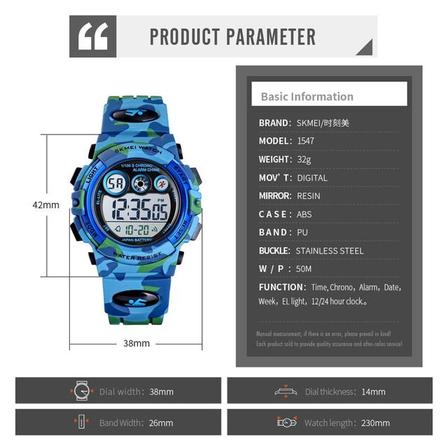SKMEI Children LED Electronic Digital Watch Stop Watch Clock 2 Time Kids Sport Watches 50M Waterproof Wristwatch For Boys Girls 6