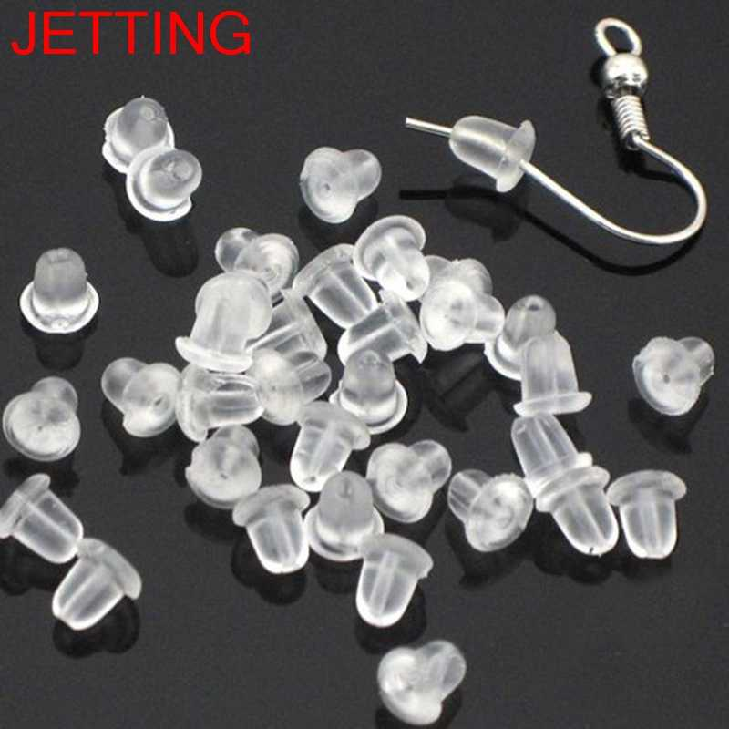 50/100 Pcs  Soft Earring Back Hook Bullet Safety Earring Stopper Earnut Women Jewelry Accessories Rubber Clear