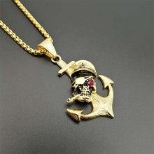 Готический аксессуары якорь пират трубы череп кулон ожерелье