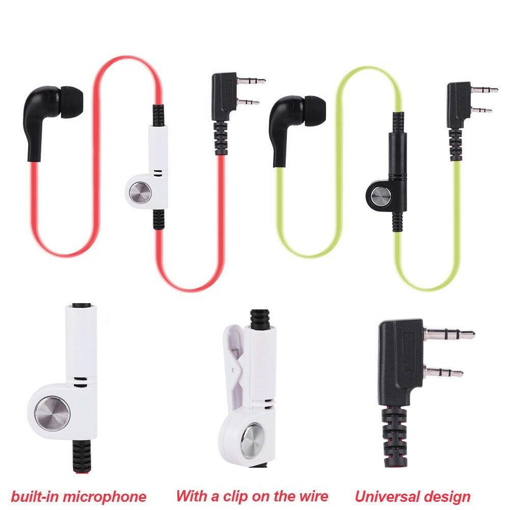 2 Pin K Head PTT Walkie Talkie Earphone Headset Headphone Earpiece With Mic For Kenwood Baofeng TYT