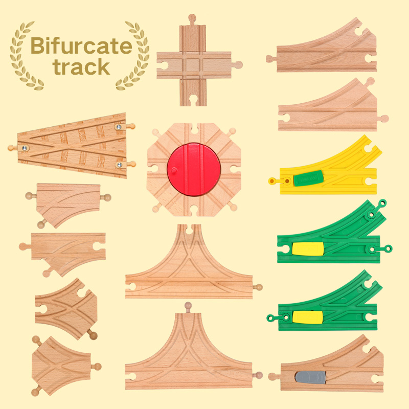 Lekool Cartoon Wooden Train Track Crossing Tracks Y-Switch Junction Switching Educational Wood Railway Accessories  Thomas Biro