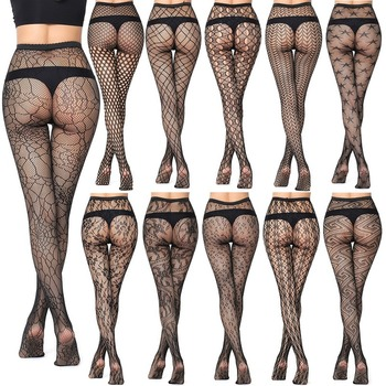 5 pairs New Arrival Thin Women Pantyhose Sexy Hollow Solid Fishnet Tights Clothes For Black Lace Lingerie