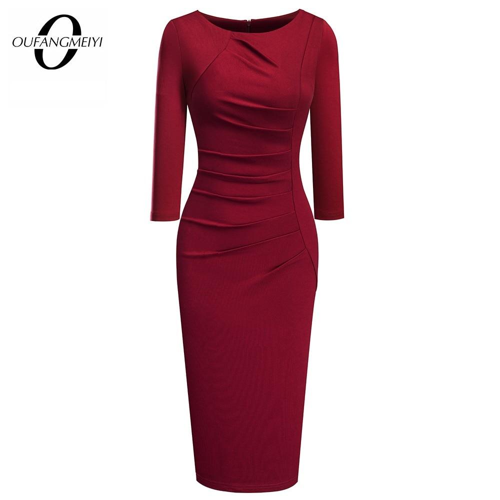 Women Elegant Fashion Solid Color Wear to Work Dresses Business Office Vinatg