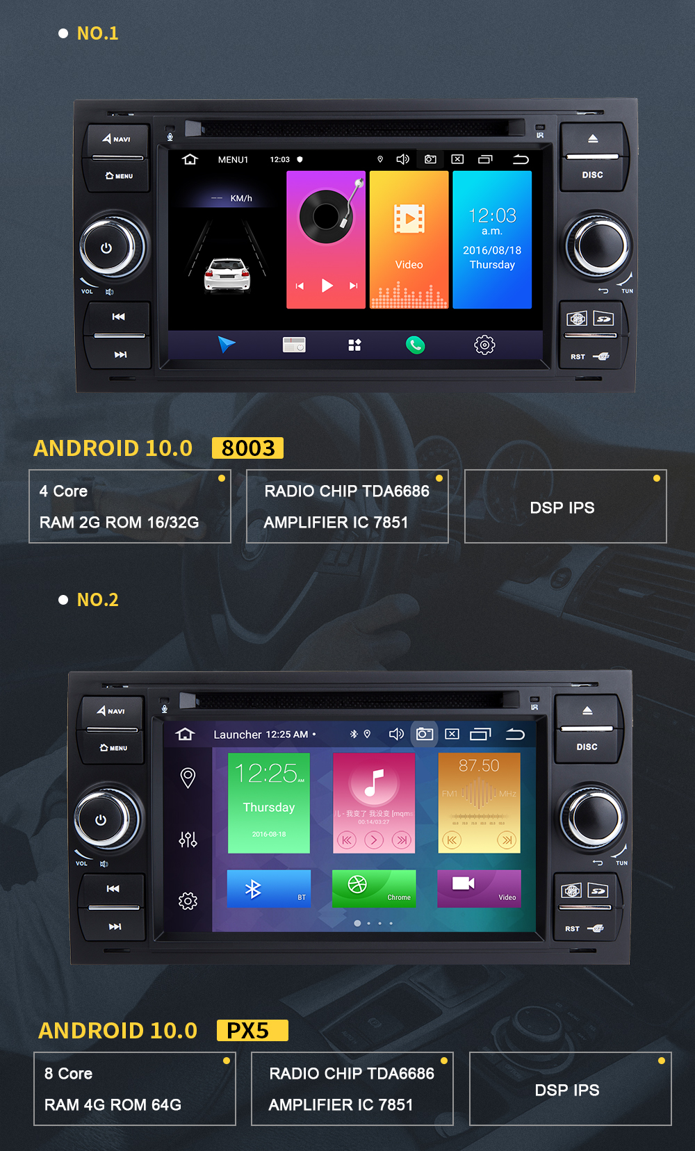 android 10 para modelos ford focus 2
