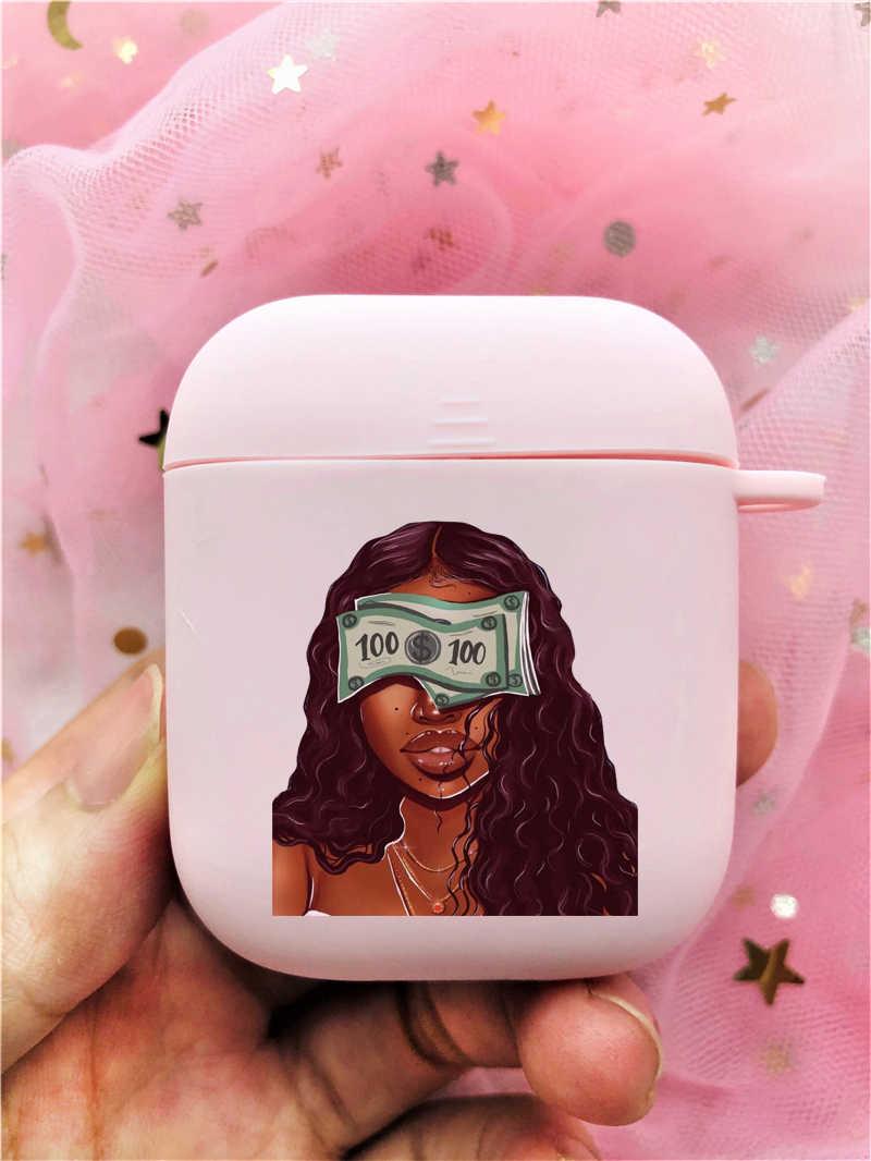 Para kazanmak değil arkadaşlar Kash Afro siyah kız Airpods durumda 2 1 kulaklık kapağı Airpods için yumuşak TPU pembe buzlu kulaklık kutusu