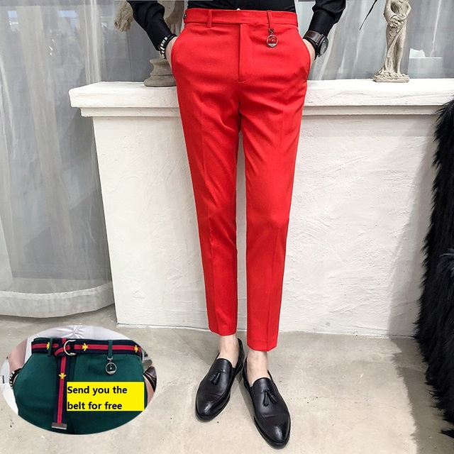 Mens Social Pants White Pants Mens British Style Trousers Mens Green Pants Office Dress Slim Fit Tight Red Social Club Pink 2020 2