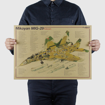 Mikoyan MIG 29/ Famous Weapon design / Fighter /kraft paper/bar poster Wall Stickers/Retro Poster/decorative painting 51x35.5cm image