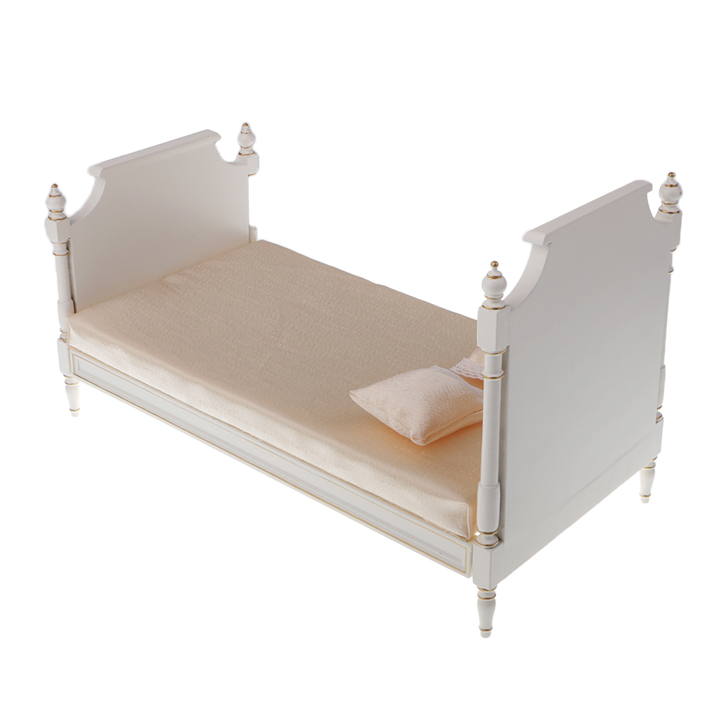 1:6 White Double Bed Furniture for Licca Azone Pullip Doll House Accessory House Furniture Toys for Doll