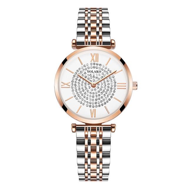 2021 moda diamante senhoras relógios pulso aço