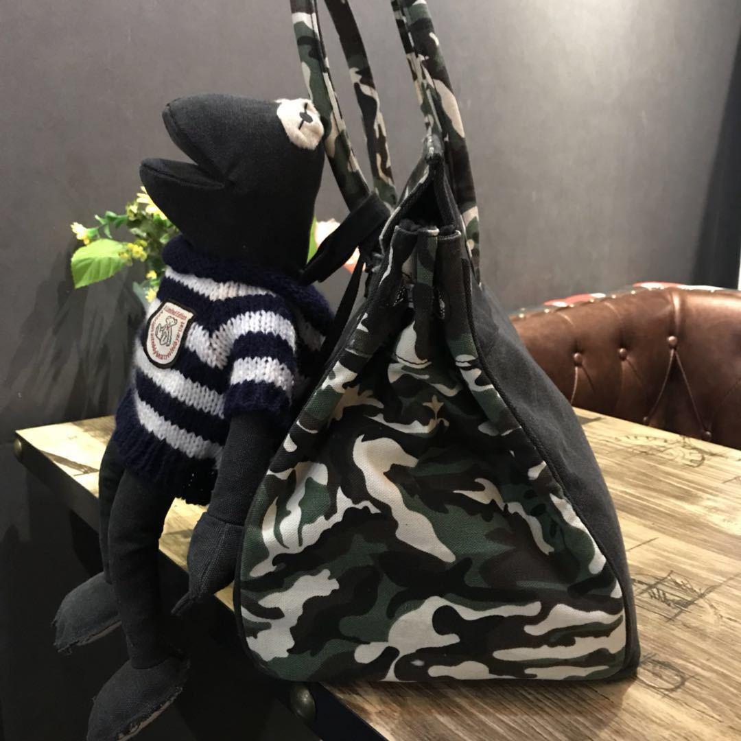 2019 Europese Klassieke Creatieve Persoonlijkheid Ambachten Camouflage Zwarte Stiksels Canvas Tas Vrouw Tote Handtas Messenger Reizen Baal - 2