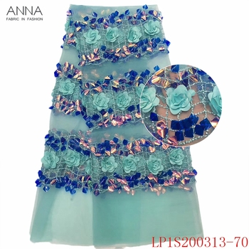 Anna african 3d applique lace nigerian tulle fabric 2020 high quality french sequins laces embroidery fabrics for garment sewing
