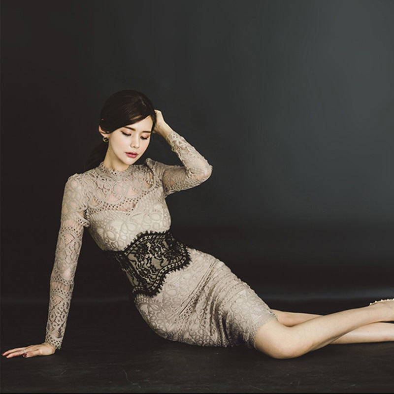 New Style WOMEN'S Dress Sexy Lace Elegant Goddess-Style Slim Fit Skirt High-waisted Long Sleeve Mid-length Dress