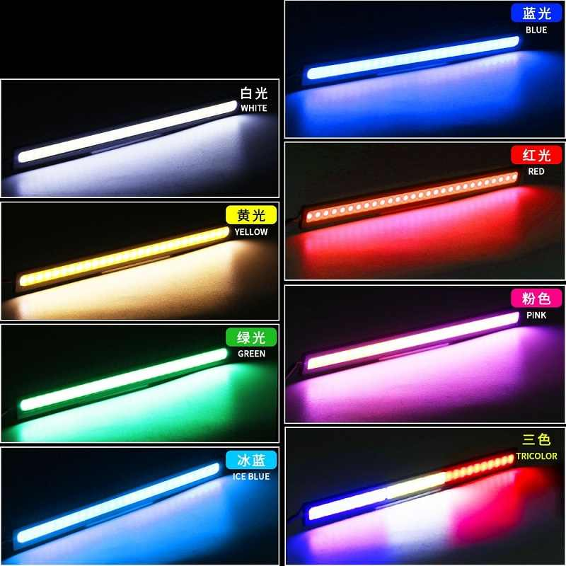 2 قطعة COB LED DRL القيادة النهار تشغيل أضواء العمل 17 سنتيمتر شريط أضواء DRL 12V COB LED لوح مضاد للماء سيارة سيارة led التصميم