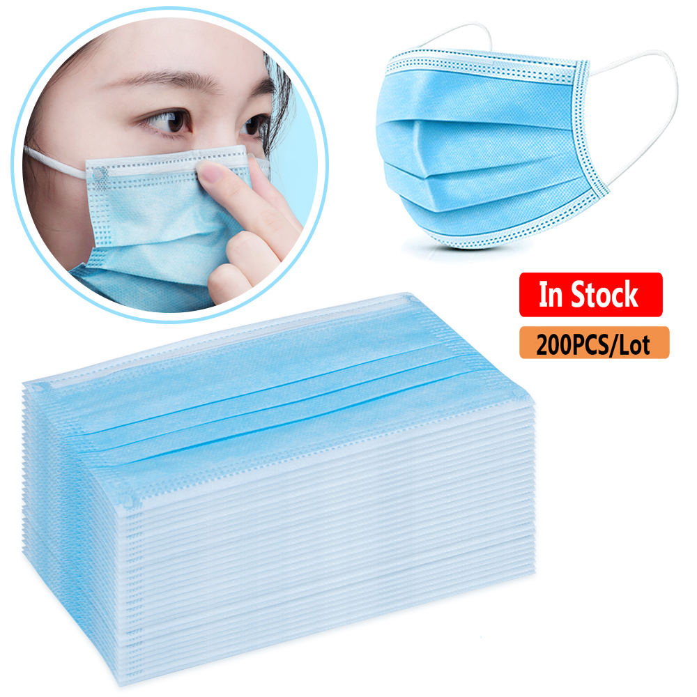 200-10PCS Anti Virus Disposable Face Mouth Mask 3 Layer Non Woven In Stock Earloops Mask Anti Dust Pollution Masks Pm2.5 Mask