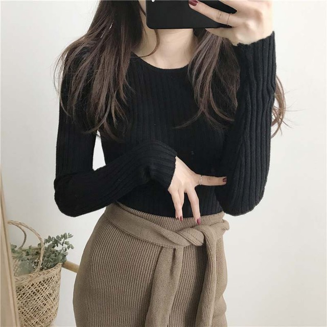 Basic Knitted Sweater Women Autumn Winter Bottoming Sweaters Pullover Lady Casual O-neck Slim Jumper 3