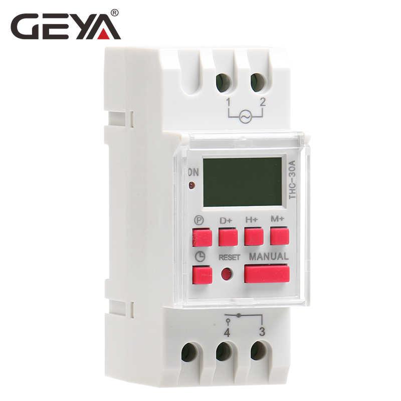 Darmowa wysyłka GEYA THC-30A elektryczny cyfrowy włącznik czasowy programowalny 30A AC DC 12V 24V 110V 220V 240V zegary elektroniczne