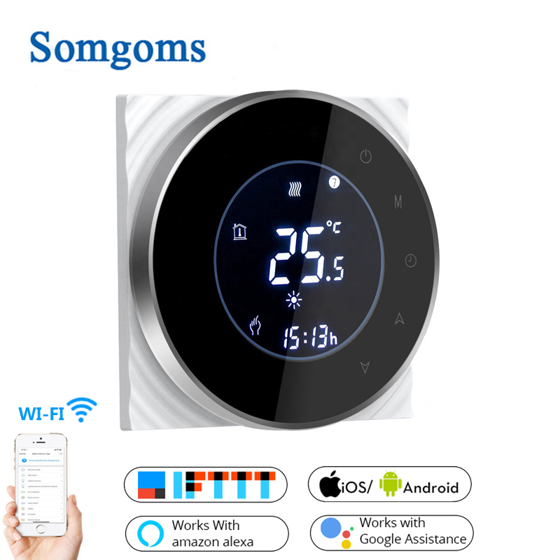 Smart WiFi Touch Thermostat Temperature Wireless Controller For Water/Electric Floor Heating Water/Gas Boiler Works Google Home