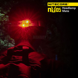 Image 5 - 2020 nitecore卸売NU05キット35 lms白赤ライト高性能4LEDビルドのバッテリーusb充電式屋外ヘッドランプ