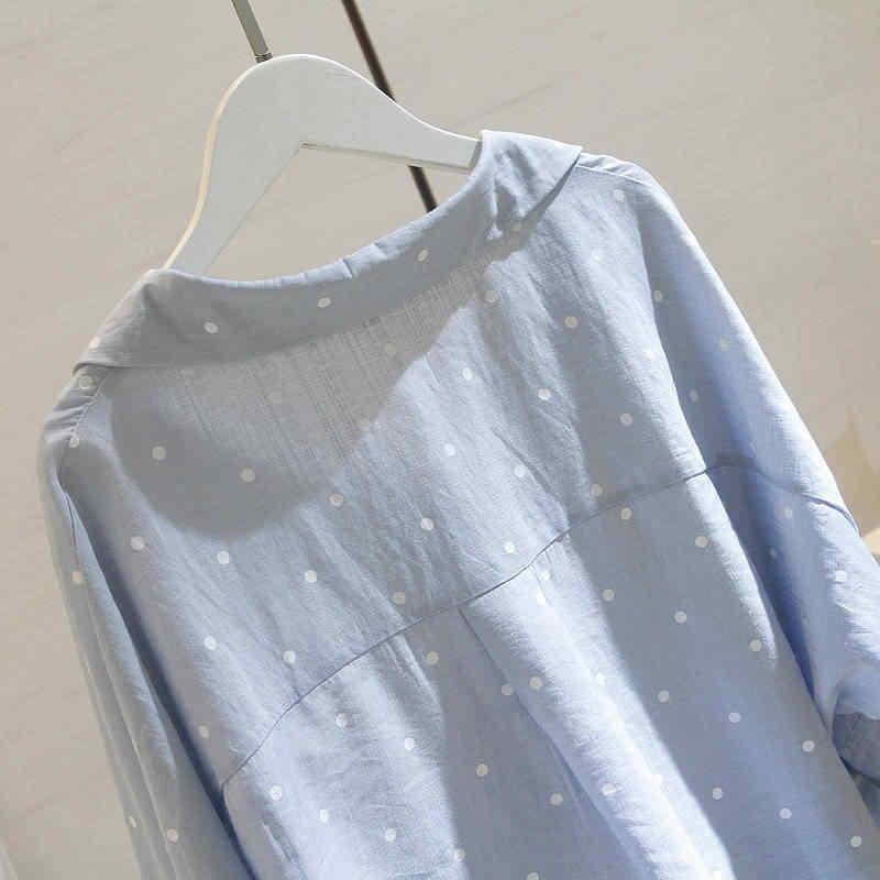 بلوزات صيفية حجم كبير بلوزة بيضاء بلوزات كورية عصرية للسيدات قميص نسائي الخريف البولكا نقطة OL Blusas النسائية 5XL