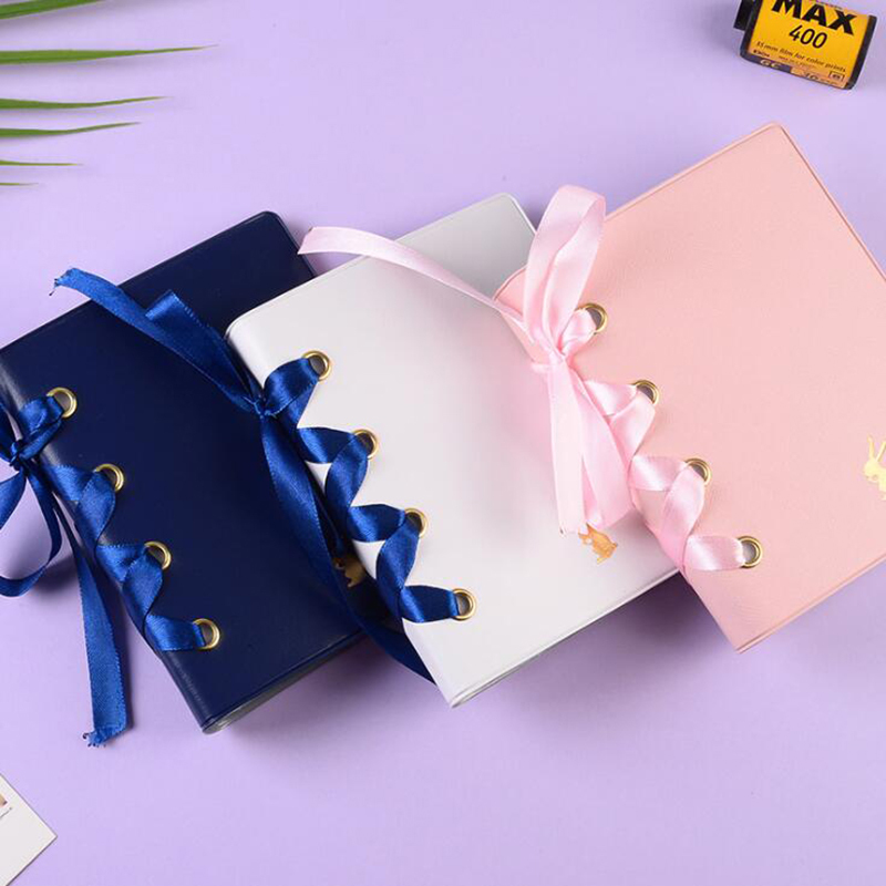 3 Inch 64 Pockets Children Bowknot Style Photo Album Holder Candy Color Book Album for 3 Inch Mini Instax Name Card
