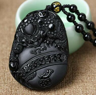 Natural Obsidian Pendant Toad Amulet Mascot Pendant Animal Statue Lucky Necklace Pendant Gift