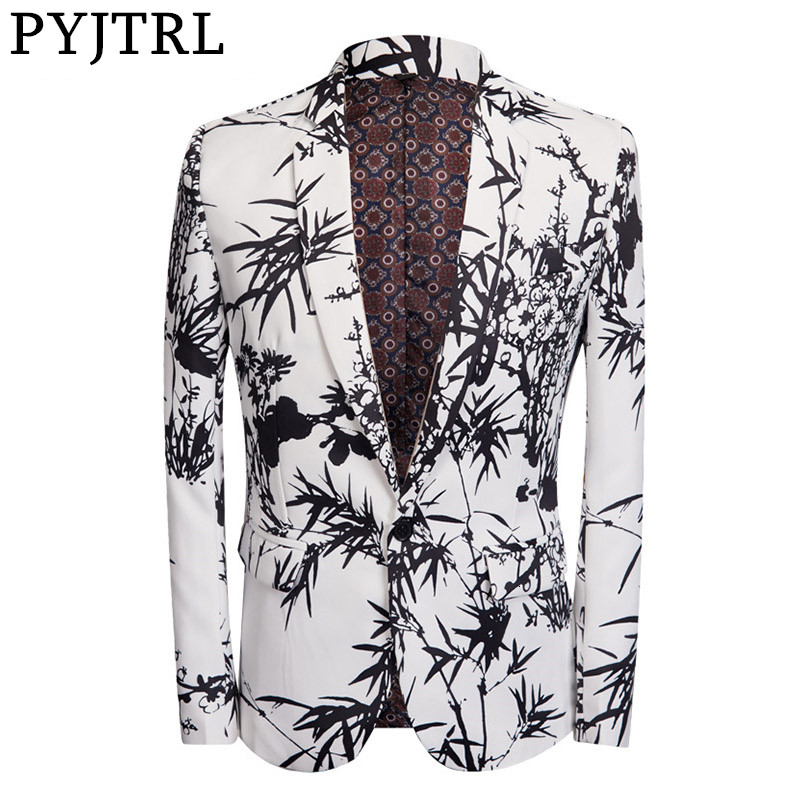 PYJTRL Chinese Style Men Fashion Black Bamboo Print Blazer New Designs Costume Homme Stylish Wedding Party Slim Fit Suit Jacket
