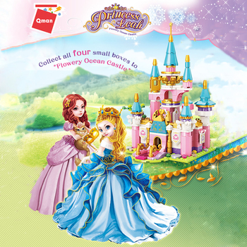 Qman 2613 Snow Princess Flower Castle Figures Educational Model Compatible Friends  Building Block Bricks Toys for Girls