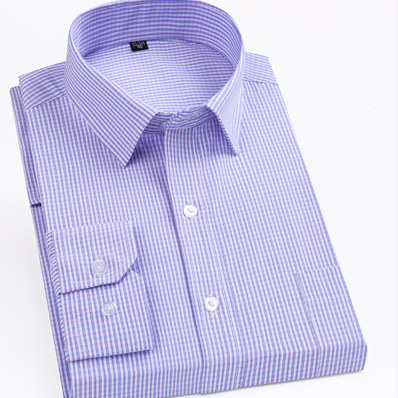 Anti-Wrinkle Men Plaid Social Shirt Regular Fit Long Sleeve Pocket Casual Checked Shirt Purple Striped Easy Care Non-iron