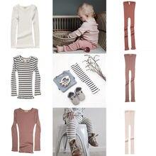 Conjuntos de roupas do bebê minimalisma novo outono elasticidade macia infantil manga longa t camisa calças definir roupas boutique crianças