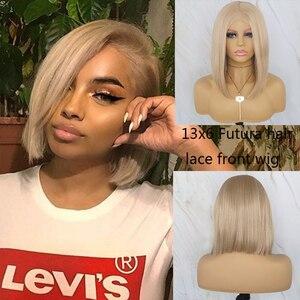 Diário bonito loira peruca curta bob para as mulheres gluesless peruca dianteira do laço sintético futura cabelo 13x6 peruca frontal do laço 10-14'