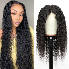 Lace Wigs Human-Hair-Wigs T-Part Curly Water-Wave Wavy Transparent Long Brazilian And