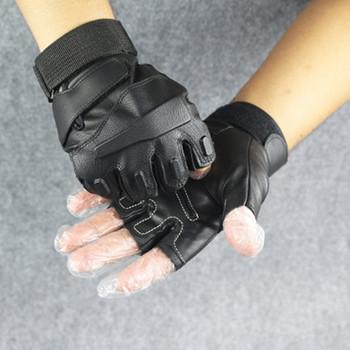Rękawice motocyklowe skórzane wodoodporne męskie letnie rękawice taktyczne bez palców pół palca poślizgu rower górski pół jazda palcami na rowerze tanie i dobre opinie VUNDO CN (pochodzenie) Skóra syntetyczna NYLON Uniwersalny ST074 riding gloves motorcycle leather motorcycle gloves leather