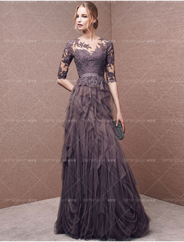 see through half sleeve appliques ruffles long prom robe de soiree Formal evening gown vestidos 2018 mother of the bride dresses sexy long sleeve lace sequin dubai style a line formal arabic evening prom gown robe de soiree 2018 mother of the bride dresses