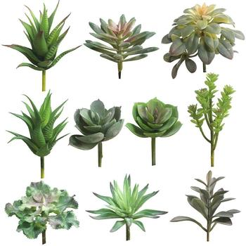 1 Pc Artificial Succulent Simulation Faux Green Plant Flower Arrangement DIY Bonsai Home Living Room Office Garden Decor 2021 image