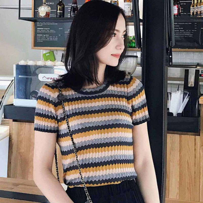 New Woman Fashion Slim Striped T shirt 2019 Female Ice Silk O Neck Short Sleeved Tshirt Women Korean Casual Summer Tops in T Shirts from Women 39 s Clothing