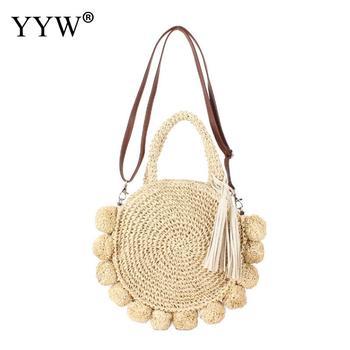 2020 round bohemian tassel rattan straw bag women handbag woven crossbody shoulder bags designer ball summer Bag beach bag purse