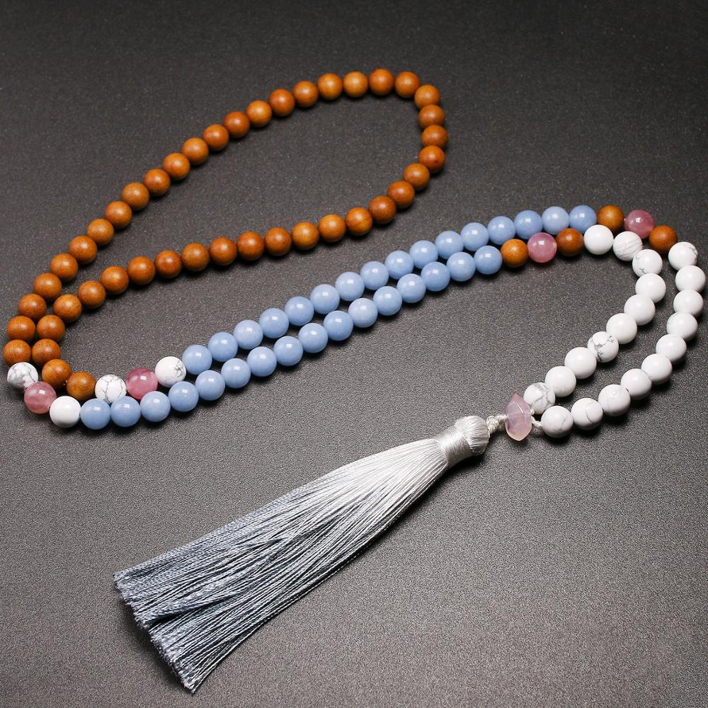 108 Japamala Necklace Mala Natural Real Sandalwood Angelite Howlite 8mm Stone Beads Necklaces Tassel For Women