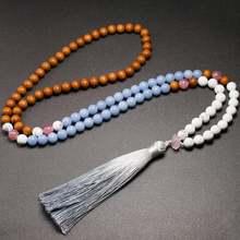 108 japamala necklace mala natural real sandalwood angelite
